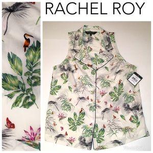 Rachel Roy S cream sleeveless top toucan butterfly